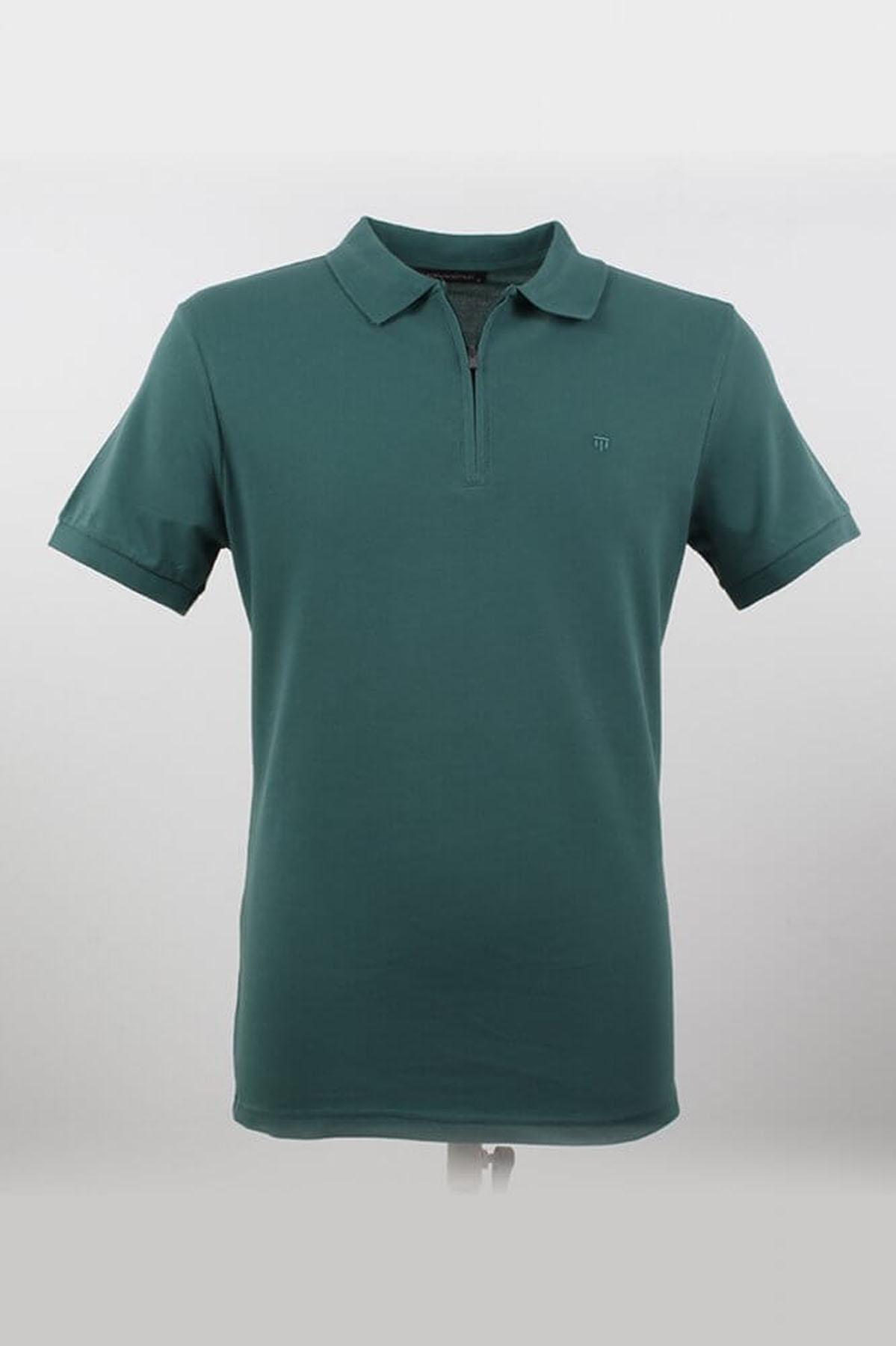Polo Yaka Fermuarlı Nefti T-Shirt