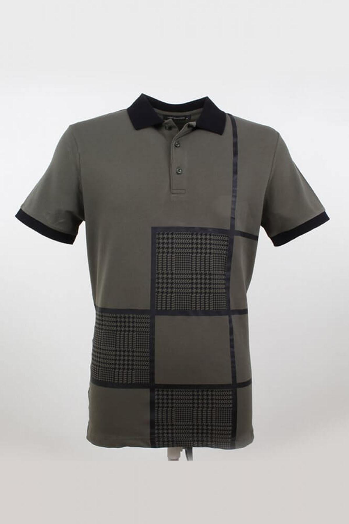 Polo Yaka Kare Desenli Çağla T-Shirt