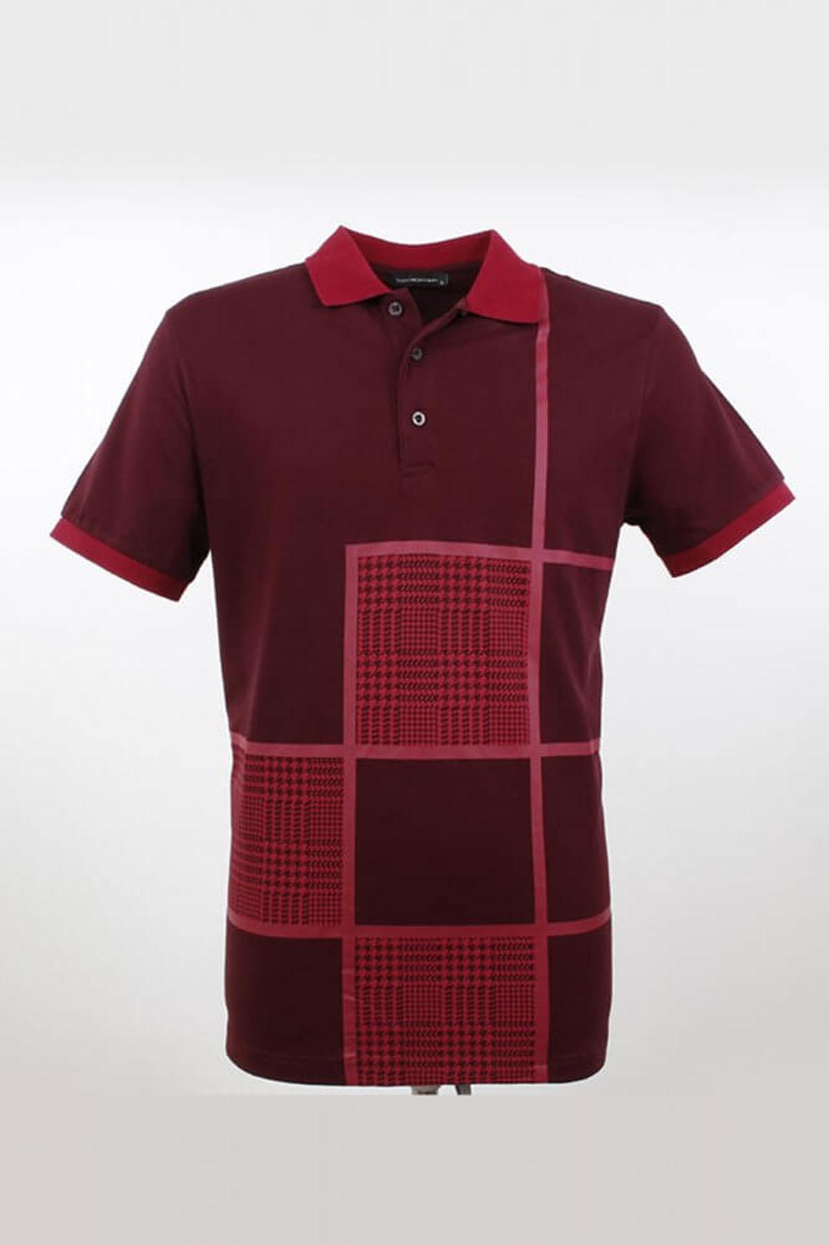 Polo Yaka Kare Desenli K.Bordo T-Shirt