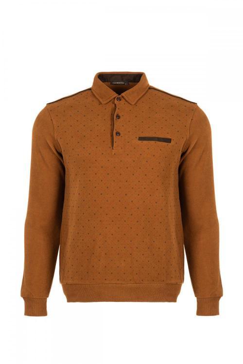 Baskılı Polo Yaka Sweatshirt