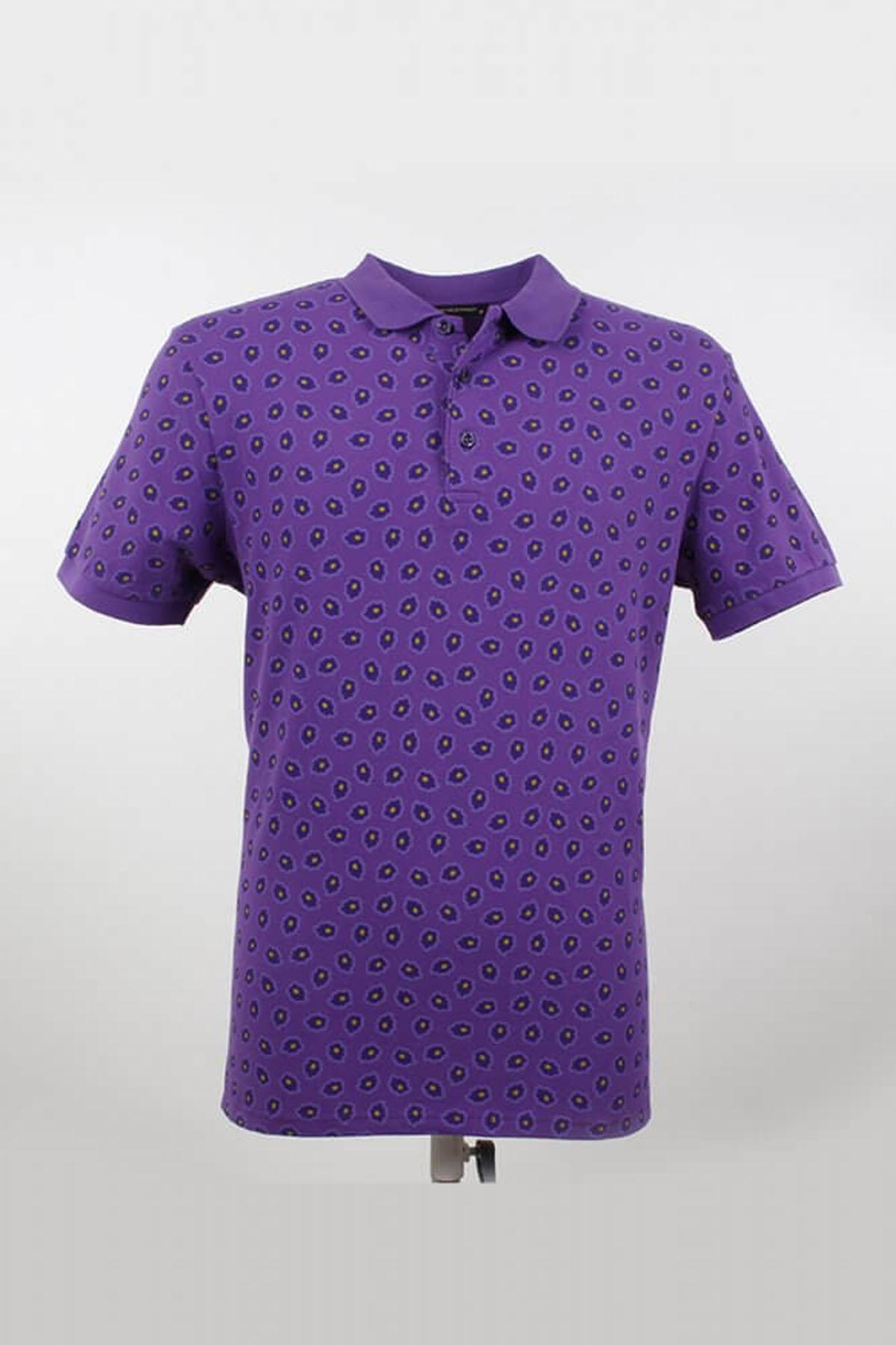Polo Yaka Tamamı Desenli Mor T-Shirt