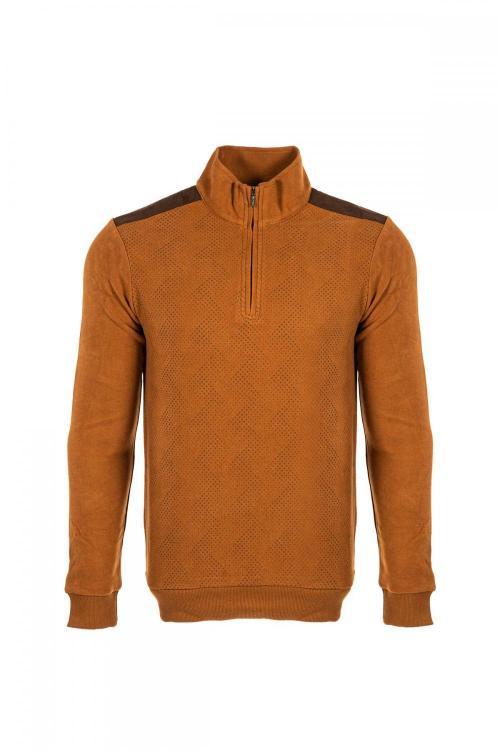 Dik Yaka Baskılı Sweatshirt