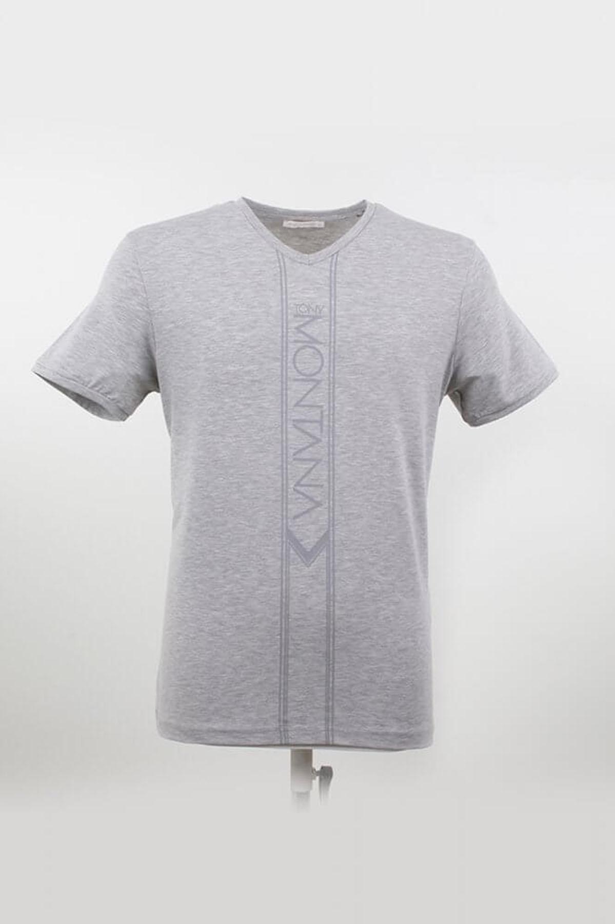 V Yaka Yazılı Grimelanj T-Shirt