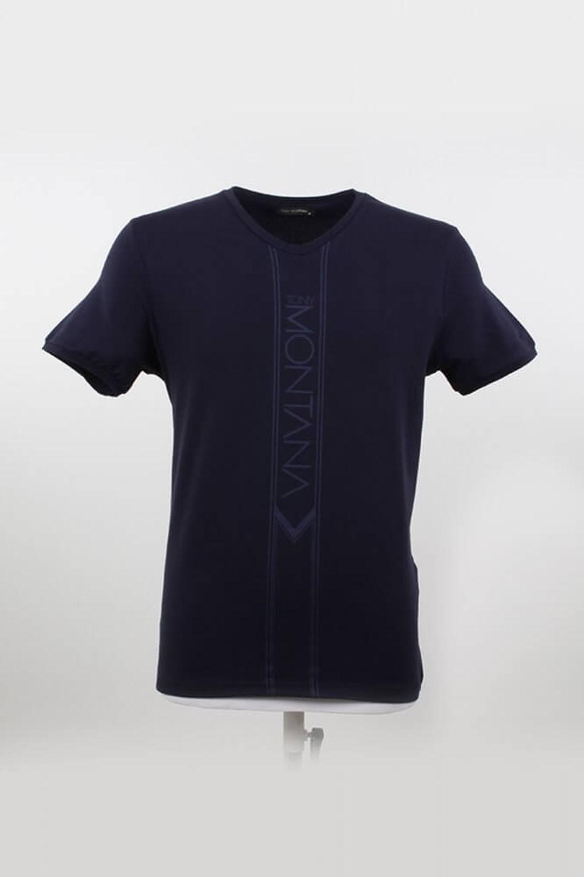 V Yaka Yazılı Lacivert T-Shirt