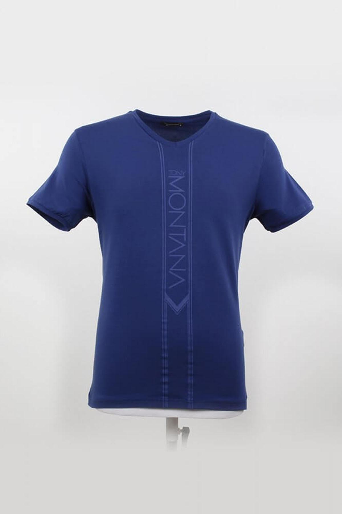 V Yaka Yazılı Marine T-Shirt