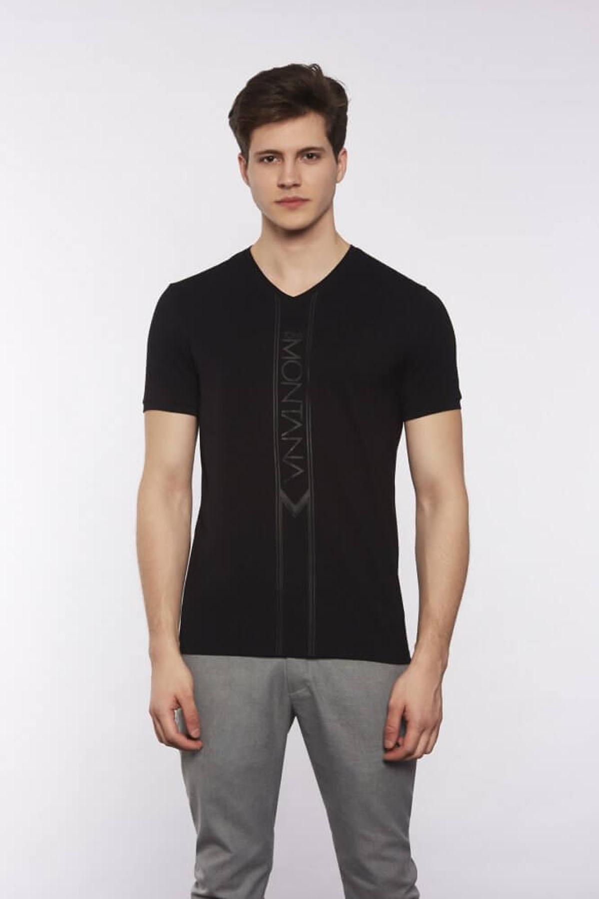V Yaka Yazılı Siyah T-Shirt